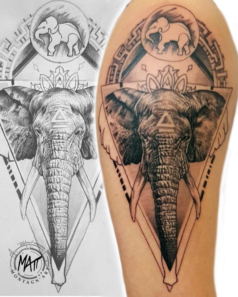 tatouage éléphant dessin noir et gris