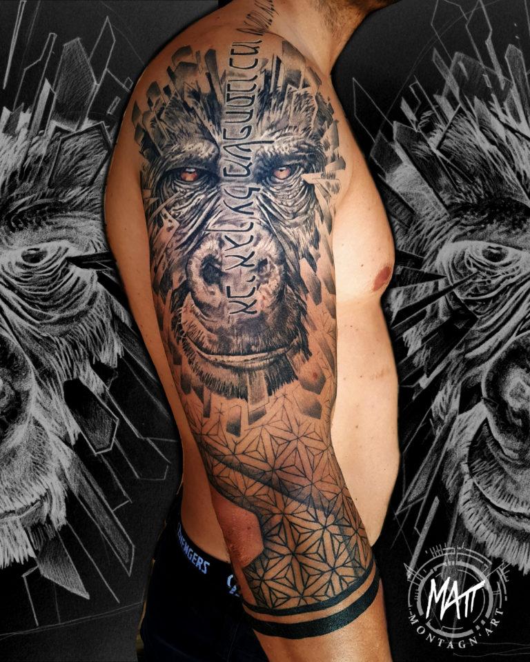 tatouage bras gorille texture