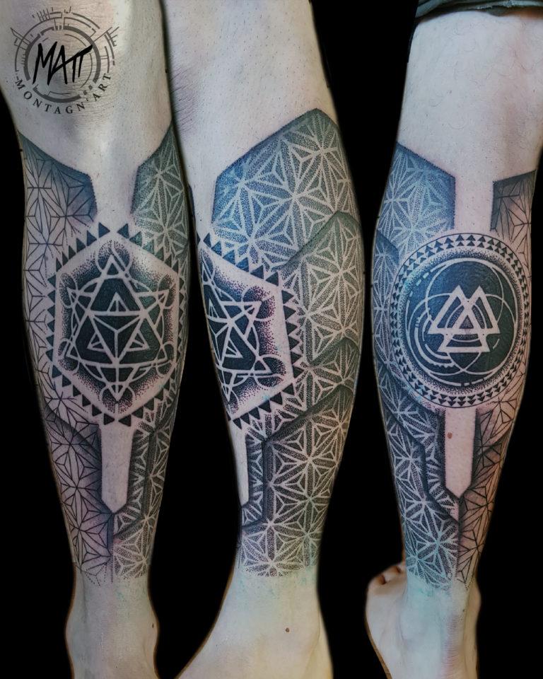 tatouage mollet géometrique texture
