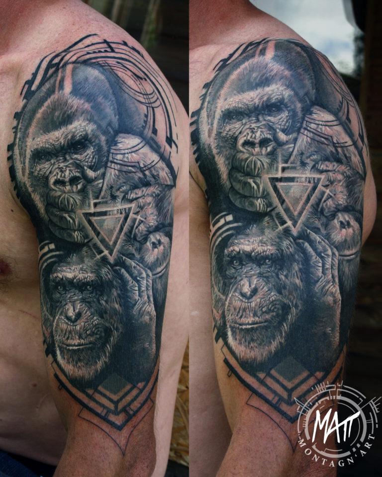 tatouage singes de la sagesse géometrique