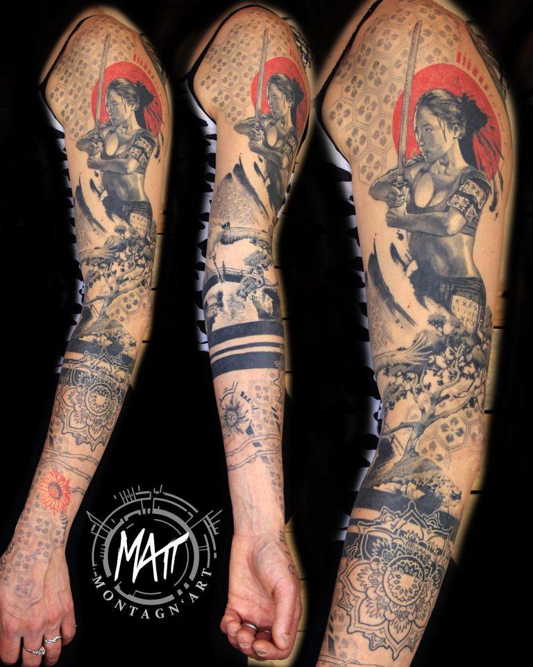 bras tatoué japon samourai